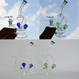 $enCountryForm.capitalKeyWord Australia - Recycler Rig Dab Bong Inline Gridded Percolator Glass Bong 14mm Glass Bowl Double Chamber Glass Bubbler Water Bong 8.5inch Dab Oil Rigs