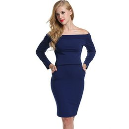2a1a048d40 Sexy Pocket Canada - Spring Autumn Women s Fashion Dress Off shoulder  Bodycon Sexy Dress Long sleeve