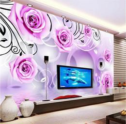PurPle wallPaPer for bedroom walls online shopping - Custom d wallpaper mural Purple Flowers D Wall paper Sofa Living Room Bedroom Tv Background Wall Home Decor