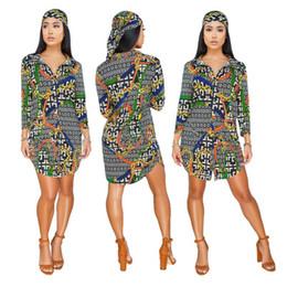 headbands stand 2019 - Free Ship Women Sexy Lapel Collar Printed Shirt Dresses Casual Slim Fit Clubwear Mini Dress XXXL without Headband