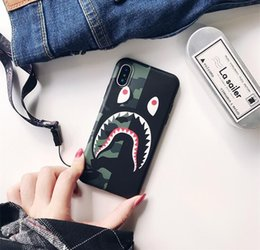 $enCountryForm.capitalKeyWord Canada - Tide brand camouflage shark mouth for iphone XS MAX mobile phone shell iPhone8 matte couple 6s 7 creative lanyard TPU goophone