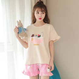 Cartoon Summer Short Sleeve Women Pajamas Casual Female Pajama Set Home Sleepwear  Cute Pyjamas Ladies Pijama Suits Shorts 98590bddc