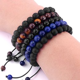 Discount hand beads for men - 1pcs Trendy 6 8mm Natural Volcanic Stone Beads Bracelets For Women Men Tiger Eye Lava Beaded Braided Hand String Bangle