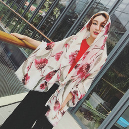 cotton ethnic scarf Canada - 2018 new spring and summer cotton scarf air-conditioned room shawls beach sun shawl ethnic style flower pattern printing women's scarf