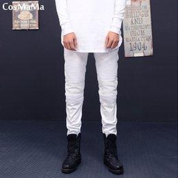 Ivory Mens Pants Canada - 2018 CosMaMa Brand mens hip hop fancy latest design rock star super slim skinny fit pleated biker high stretch jeans pants