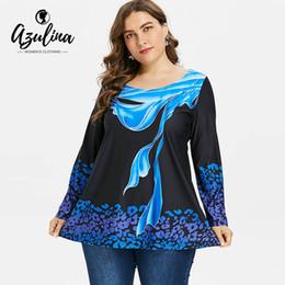 8987ab615a6 AZULINA Big Size Abstract Print O Neck Long Sleeve T-Shirt Women Tops 2018  Autumn Casual Long T Shirt Plus Size Women S Clothing
