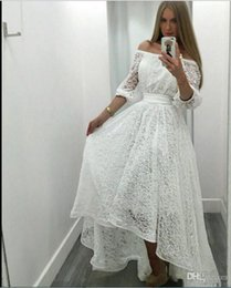 $enCountryForm.capitalKeyWord Australia - Elegant White Lace Prom Dresses 2018 Off The Shoulder Half Sleeves Evening Gowns High Low Formal Party Dress Cheap Bridal Vestidos