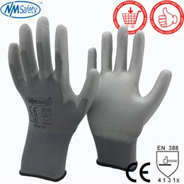 Discount pu coated glove - NMSafety 12 Pairs work gloves for PU palm coating safety glove D18110705
