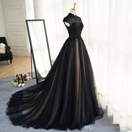 high collar gothic wedding gowns NZ - Gothic Black Wedding Dresses Champagne Lining High Neck Lace Appliques Capped Sleeves Zipper up Sweep Train Wedding Dress Cheap Bridal Gown