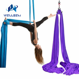 aerial yoga hammock 2019 - Wellsem 8.2x2.8M Aerial Silks Equipment Anti-gravity Yoga Hammock Swing Yoga for Home Gymnastics Flying Dance & Body Sha