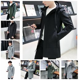 black military trench coat men 2019 - Long fashion casual versatile jacket trench coat youth hooded jacket, black, gray, military green. Support mixed batch c
