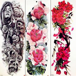 5922e9bcc 3D Peony Plum Blossom Temporary Tattoo Sexy Bright Flower Tattoo Stickers  Full Arm Legs Hands Girl Women Body Art Fake Tatoo