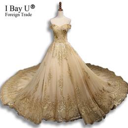 7763459a2 Imagens Reais Bling Golden Lace Lantejoulas Vestido de Baile Árabe Vestidos  de Casamento 2018 Dubai Luxo Beading Vestido De Noiva Turquia Vestidos de  Noiva