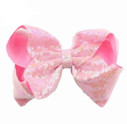 valentines bows UK - 10cm Rhinestone Hair Bow Jojo Bows With Clip For School Baby Children Large Sequin Bow Unicorn Bow Mermaid 10 Style For valentines