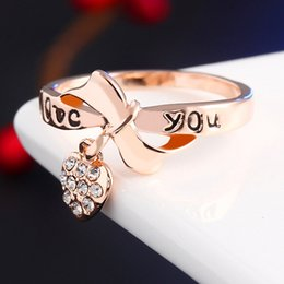 Swarovski Gold 18k Australia - Ring for Women Diamond Engagement Ring Bowknot Heart 18K Rose Gold Plated Cubic Zirconia Sapphire Swarovski Gemstone Rings Wedding Ring Set