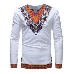 long bottom white t shirt NZ - 2018 african Dashiki Traditional National print V-neck tops casual long sleeve bottoming T-shirt Men's clothing Shirt White Plus Size S-3XL