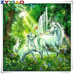 Discount diy diamond painting kits - Rhinestone full round&square diamond embroidery unicorn waterfall 5D diy diamond painting cross stitch kit home mosaic d