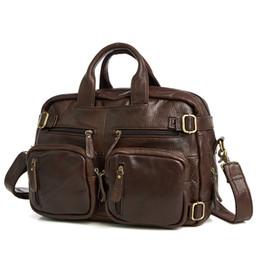 Hand Bags Leopard Prints Australia - Genuine Leather Briefcases Men Handbag Natural Real Cowhide Business Shoulder Bag Hand bags High Quality