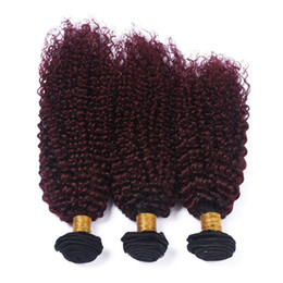 black red ombre hair weave 2019 - Black and Burgundy Ombre Indian Virgin Hair Weave Bundles 3Pcs Kinky Curly Hair Weft Extensions #1B 99J Wine Red Ombre H