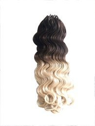 16 24 1g 100s Ombre Human Hair Micro Loop Remy T2 613 Dark Blonde Balayage Pre Bonded Extensions