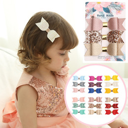 $enCountryForm.capitalKeyWord Australia - 3pcs lot Sequins Leahter Bow Clip Baby Girls Hair Clips Cute Shining Bowknot Hairpins Children Barrettes Kids Hair Accessories