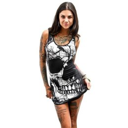 13309a7f4cb Vintage Skull Printed Dresses Women Sexy Bodycon Party Balck Dress Womens  Summer Sleeveless Bandage Package Hip Dress Vestido