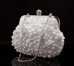 Discount bridal hand bag ivory - Cute Full Pearls Beaded White Bridal Wedding Hand Bags Evening Party One Shoulder Small Clutch Dinner Bags Cheap White i