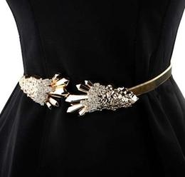 Vente en gros bg-073 designer à la mode chaîne en or ceinture pour robe filles luxe strass boucle taille Ceintures de mariage extensibles pour les femmes en ligne