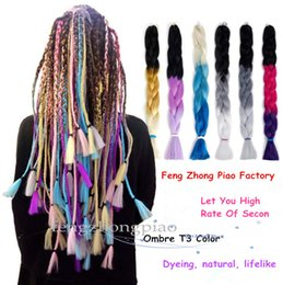 Discount hair braiding styling - FZP Ombre Three Two 24 Style Colors Kanekalon Synthetic Jumbo Braiding Hair Extensions 24inch Crochet Braids Hair Bulk W