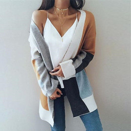 fac22d075 Women Winter Baggy Cardigan Coat Long Chunky Knitted Oversized Sweater  Jumper Color block stitching sweater coat cardigan