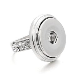 Adjustable White Gold Diamond Ring UK - Opening Adjustable Noosa Button Ring with spring and Diamond silver rings Chunk DIY Noosa ginger snaps interchangeable Jewelry for women