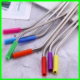 Coloridas puntas de silicona cubiertas de paja para pajitas de acero inoxidable antideslizante de paja de acero inoxidable de 6 mm cubierta antideslizante en venta