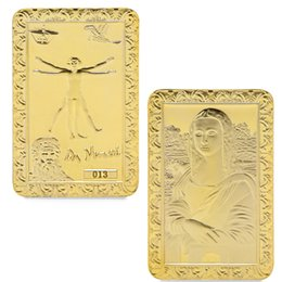 Bar Paintings UK - 50pcs lot factory wholesale medals for collection bars the famous painting Mona Lisa by Da Vinci gold bar for souvenir