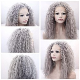 Wig Grey Australia - Natural Looking Long Curly Ombre Black to Grey Synthetic Hair Lace Front Wigs for Black Women Half Hand Tied Heat Resistant Fiber 24 inches