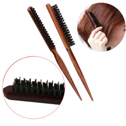 wooden tool handles UK - Professional Boar Bristle Hair Dress Comb Fluffy Wood Handle Hair Brush Anti Loss Wooden Barber Hair Comb Scalp Hairdresser Styling Tool