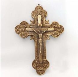 Gold 18k Shop NZ - Good luck Talisman # office home shop Lucky efficacious Protection Christianism Christ priest Cross Brass statue