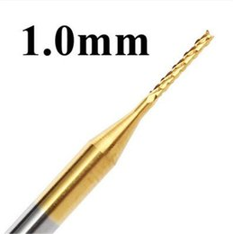 Coating Cnc Australia - 10pcs 1mm Tungsten Steel Titanium Coat Carbide End Mill Engraving Bits CNC PCB Drill Rotary Burrs Milling Cutter Drills Bit