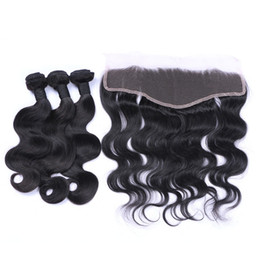 wavy human hair bundles closure UK - Body Wave Wavy Brazilian Virgin Human Hair Weaves with Frontal Closure 4Pcs Lot Body Wavy 13x4 Full Lace Frontal with Virgin Hair Bundles