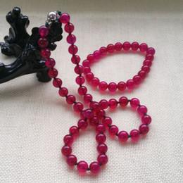 Dark Pink Bracelet NZ - Fashion Beautiful 10MM Lavender Dark rose red Necklace & Bracelet Jewelry Set 18<<<free shipping