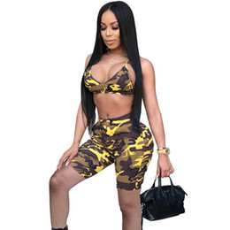 fef00e38807 Camo Sexy Two Piece Set Summer Outfits Strapless Crop Top and Shorts Suits  Matching Sets 2pcs Women Camouflage Tracksuit