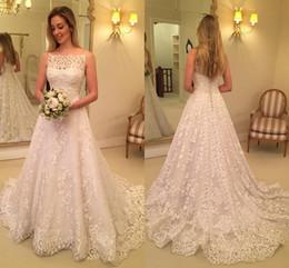 $enCountryForm.capitalKeyWord Australia - New Elegant Full Lace A Line Wedding Dresses 2018 Bateau Sleeveless Custom Made Wedding Bridal Gowns With Covered Button Back Sweep Train