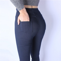 bf7fcc6971974c 2018 New Sexy Skinny Plus Size Leggings Women Legging Pocket Solid High  Waist Elastic Ankle-Length Pencil Pants Black Blue White S18101506