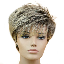 black blonde ombre hair 2019 - MISS WIG Black Mixed Blonde Straight Wig Short Pixie HairCut Style Wigs For White Women Synthetic Hair High Temperature