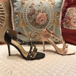 1da9584e8 2018 mujeres Llanura de color caqui negro tacón alto con 9 cm remaches  fiestas chicas sexy zapatos de baile Zapatos de boda sandalias de doble  correa