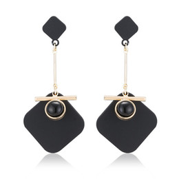 $enCountryForm.capitalKeyWord UK - Silver Black Acrylic 4 Color Handmade Matte White Gold Earrings Fashion Creative Vintage Urban Simple Circle Rhombus Earrings OEM 2018