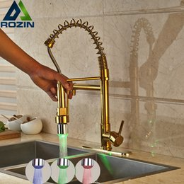 Single lever tapS online shopping - and Retail LED Light Golden Kitchen Faucet Deck Mounted Single Lever Spring Pull Down Mixer Taps