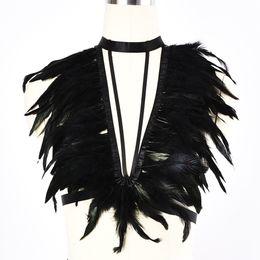 Bras garters online shopping - Feather Body Harness Cage Bra Sexy Lingerie Elastic Bondage Goth Feather Wedding Leg Garter Belt Festival Rave Wear