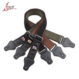 Chinese  Adjustable Cotton Guitar Strap Belt W  3 Plectrums Guitar Pick Holders Pu Leather Ends Acoustic Electric Guitar Bass Strap Accessories 3PCS manufacturers