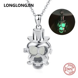 $enCountryForm.capitalKeyWord Australia - New arrival 925 sterling silver skeleton skull glowing chain pendant&necklace diy European fine jewelry making for women gifts