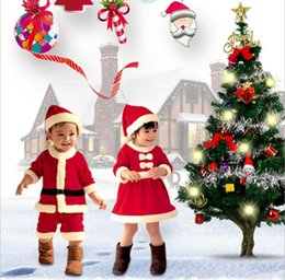 Year babY boYs clothes online shopping - 2PCS set Christmas Kids Baby Clothes Set Santa Claus Rompers Suit boys girls Christmas performance cosplay Costume New Year Onesies FFA1096